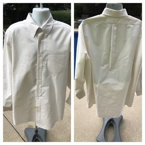 Brooks Brothers cream color button down pinpoint